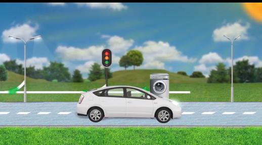 Car on solar powered road
