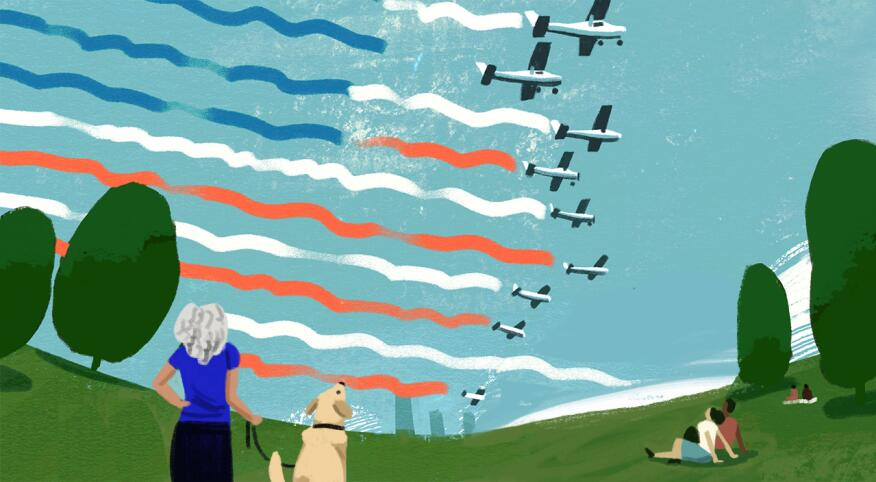 Illustration of woman watching planes in the sky creating an American flag with their jet stream