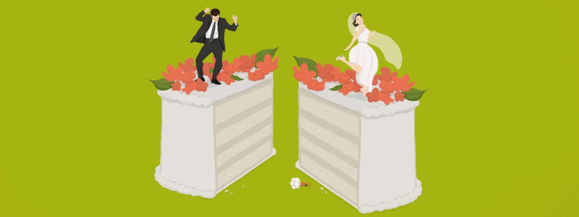 Illustration of wedding cake cut in half with bride and groom on separate sides