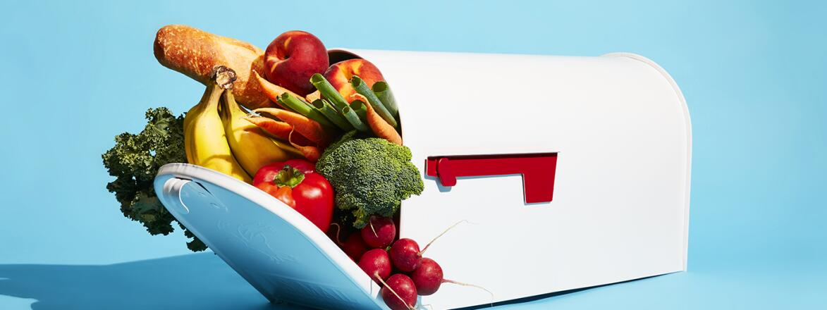 mailbox filled with various food