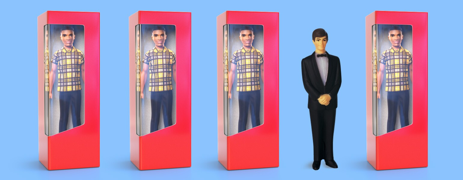 An image of a group of Ken dolls.