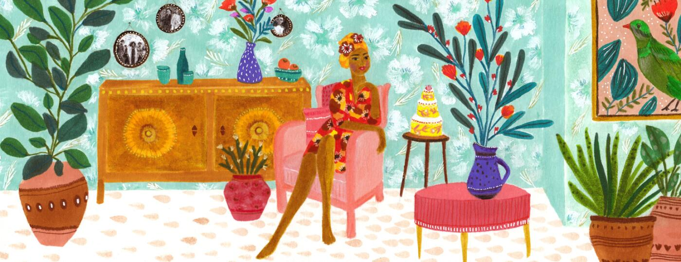 illustration of a woman sitting happily in her apartment on a chair next to a birthday cake
