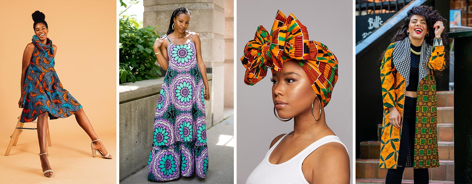 collage of women wearing different wax prints as dresses, head wrap, and a coat