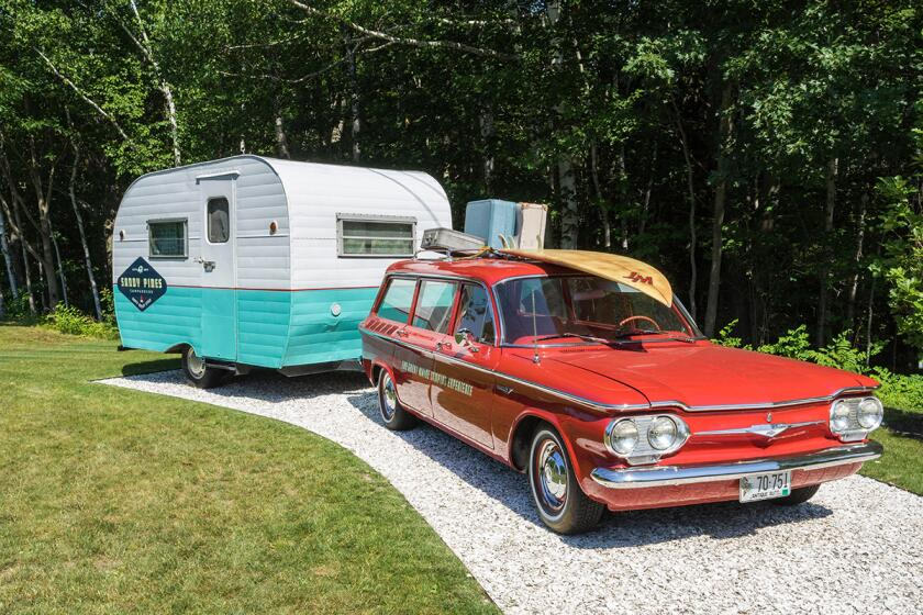 A Sandy Pines Camping trailer in Kennebunkport, ME.