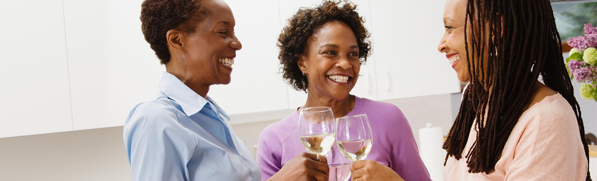 black ladies drinking white wine
