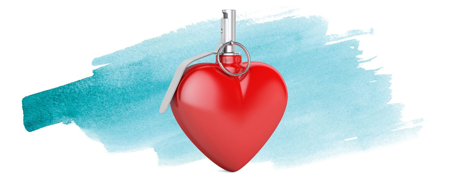 An illustration of a heart with a grenade pin in it - a literal love bomb.