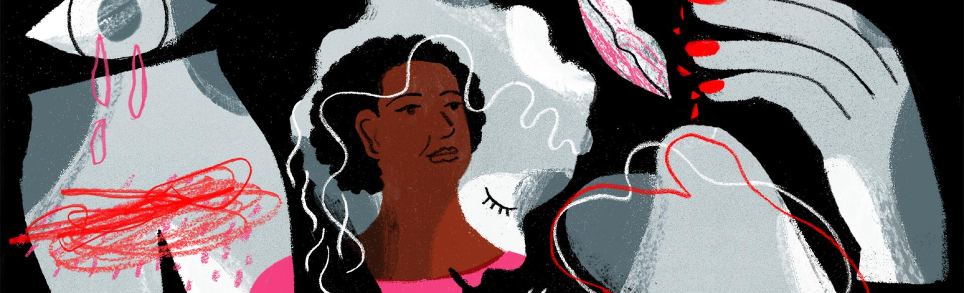 An illustration of a woman surrounded by the not so obvious signs of perimenopause.