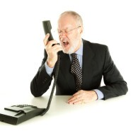 Man yelling into a phone
