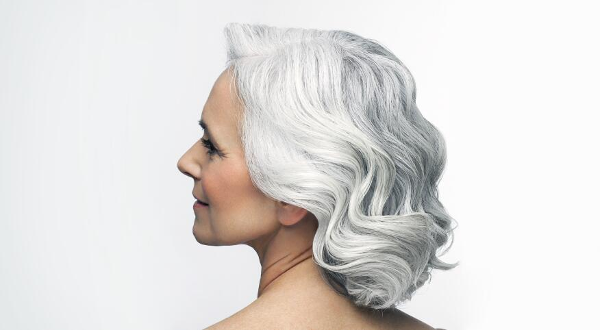 Woman with white and gray hair