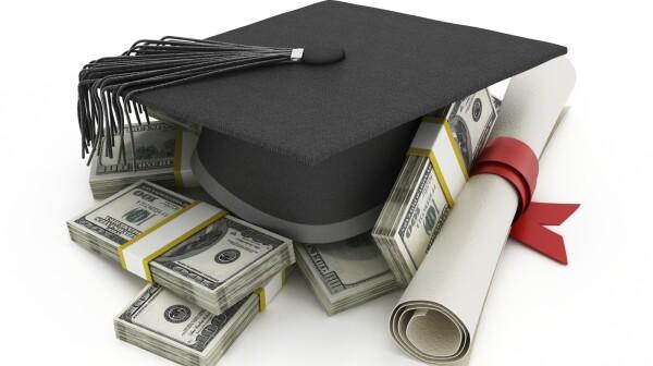 mortar board, money, diploma