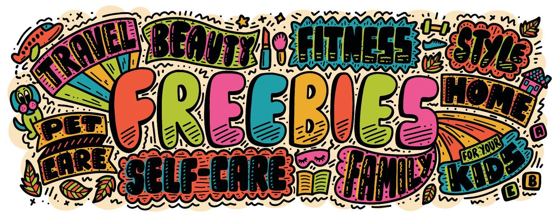 hand lettering illustration of 50 freebies