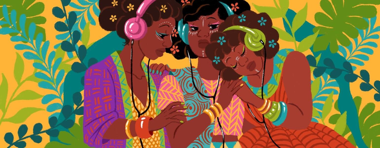 illustration of three ladies hugging and hearing music