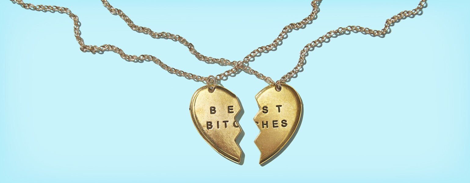 The Girlfriend, AARP, Best Friends Necklace, Best Bitches Necklace, jewelry, gold, chain, silver