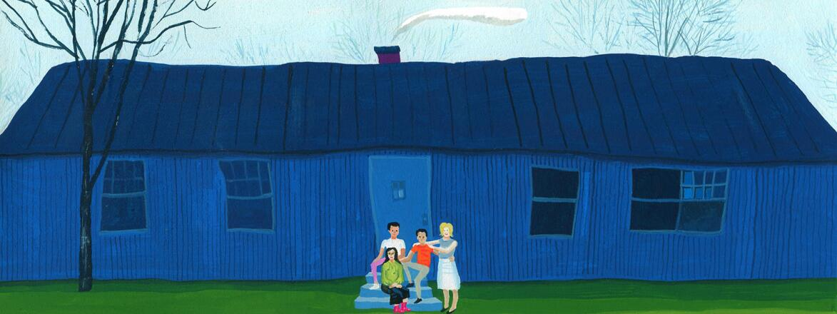 illustration of stepfamily outside of house
