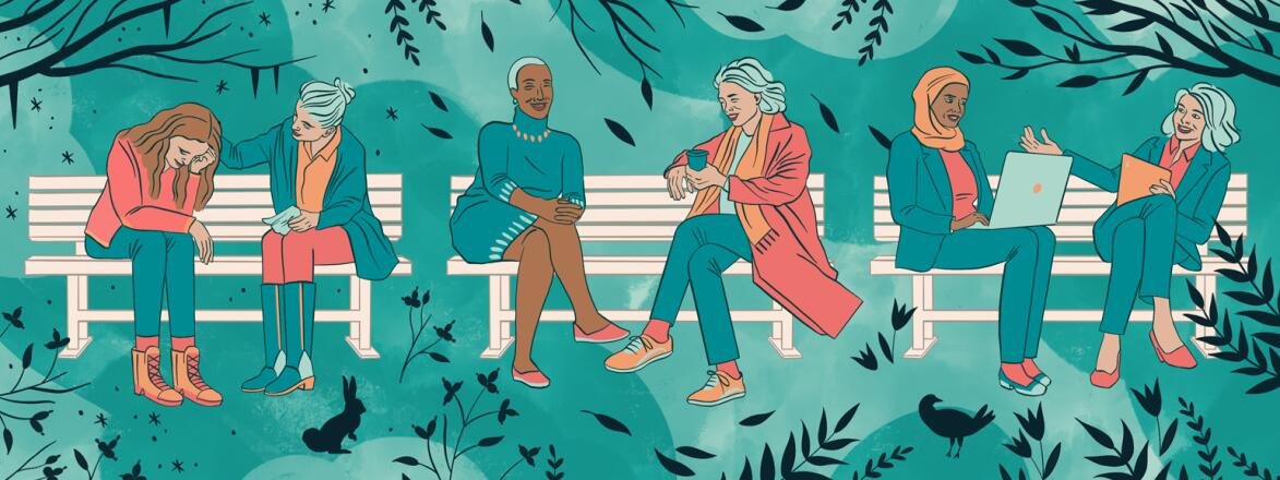 illustration of women sitting on benches with their best friends