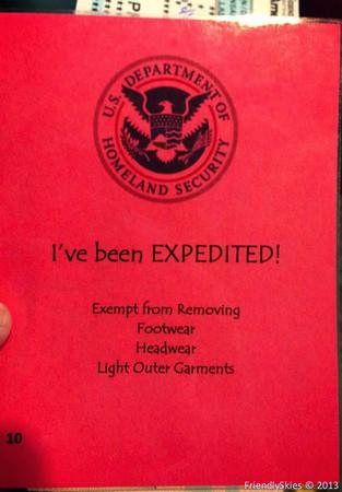 TSA screening card