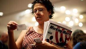 A woman attends a job fair