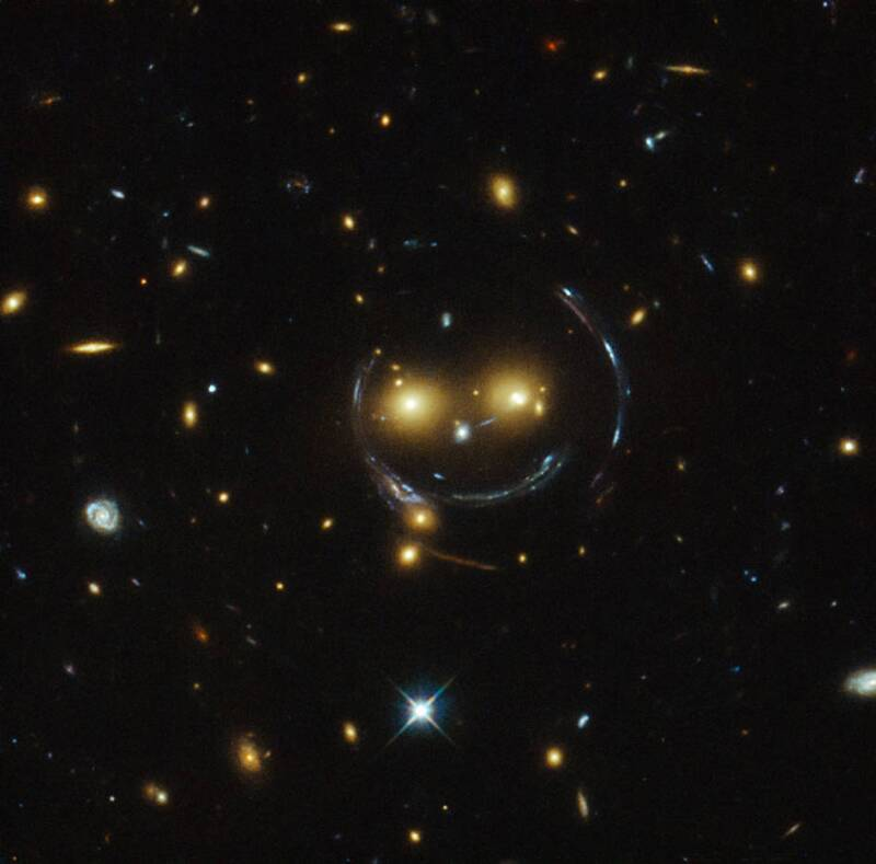 A smiling lens - NASA space image from Hubble Telescope