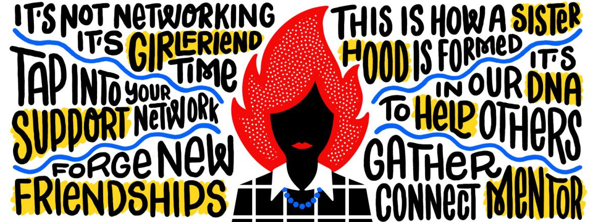 illustration of woman with blazing red hair and networking words surrounding