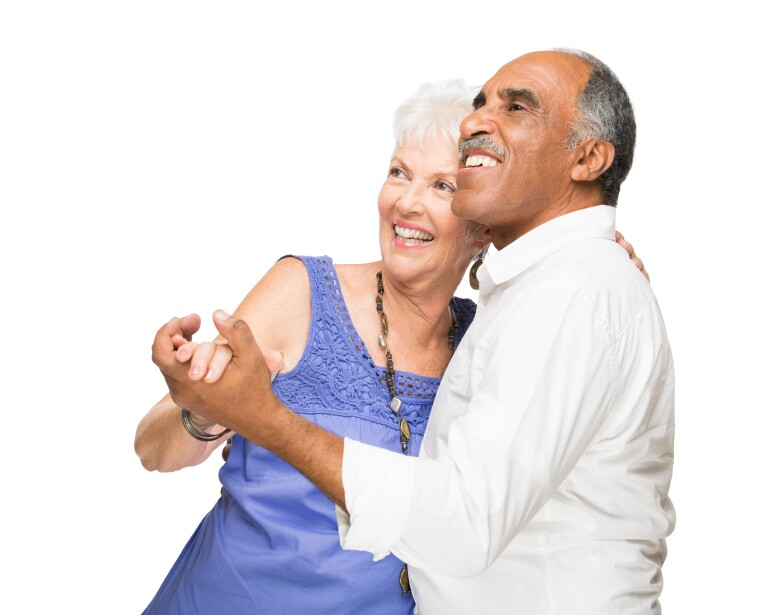 Older Latin Couple Dancing