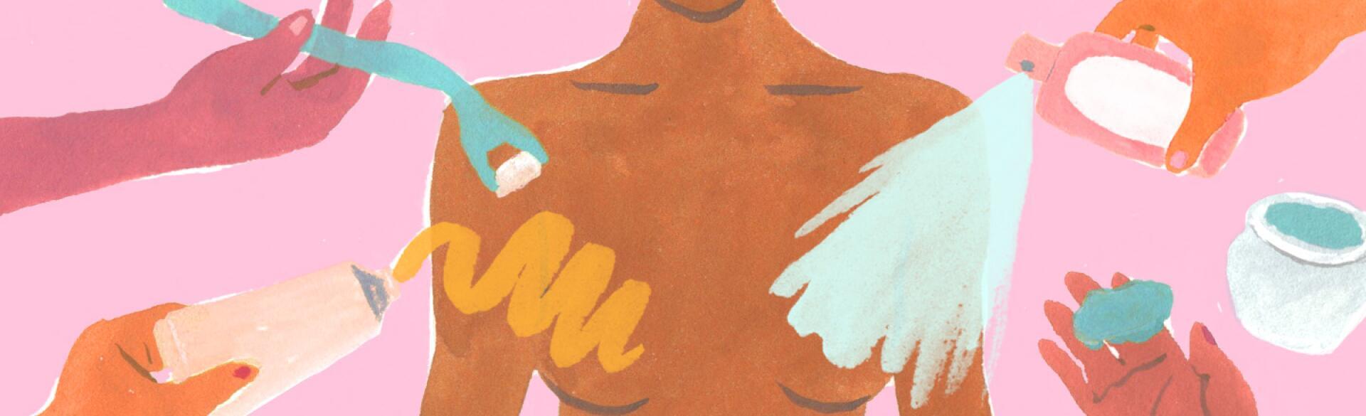Illustration of non invasive treatments for breast facials.