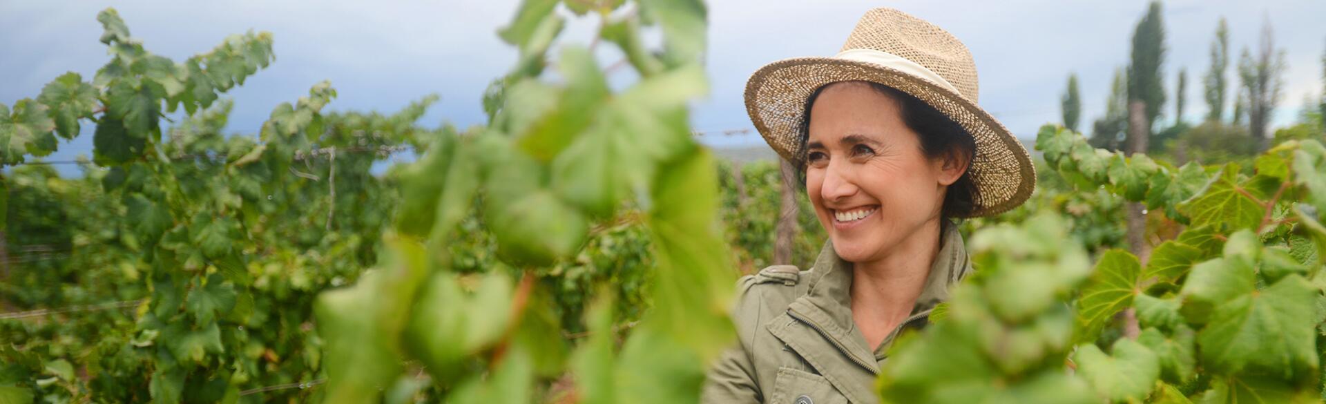 photo of Laura Catena in her vineyard