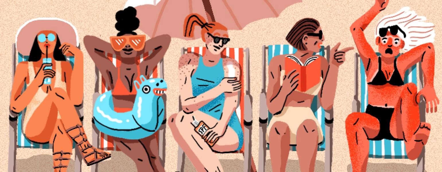 A graphic of five women at the beach.