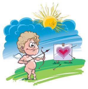 Cupid practicing his aim