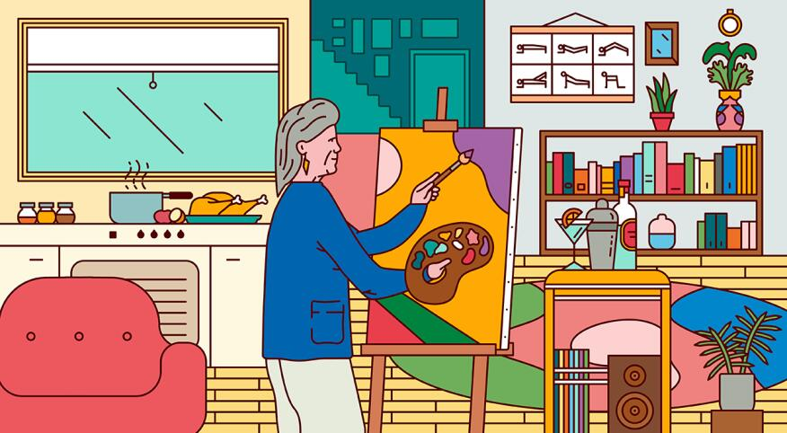 A woman painting in a home scene