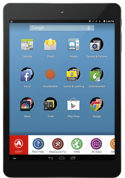 AARP Tablet, RealPad Front View
