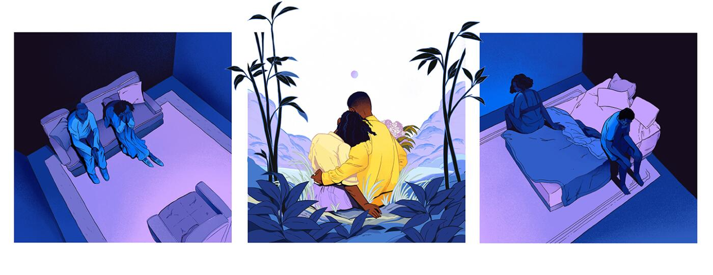 illustration_3_panels_of_couple_watching_tv_cuddling_and_sitting_at_the_edge_of_bed_by_dani_pendergast_1440x584_S