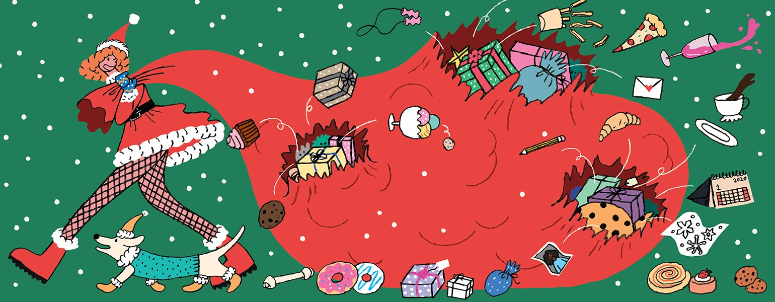 illustration of lady pulling a bag full of different holiday gifts by hye jin chung