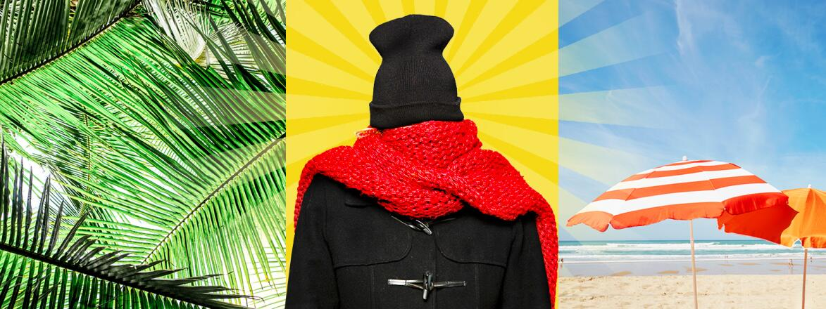 collage of palm tree, woman wrapped in winter coat scarf and hat, and beach umbrellas