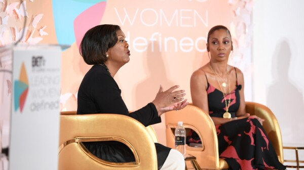 AARP SVP Edna Kane-Williams and Holly Robinson Peete at BET's Leading Women Defined 2017