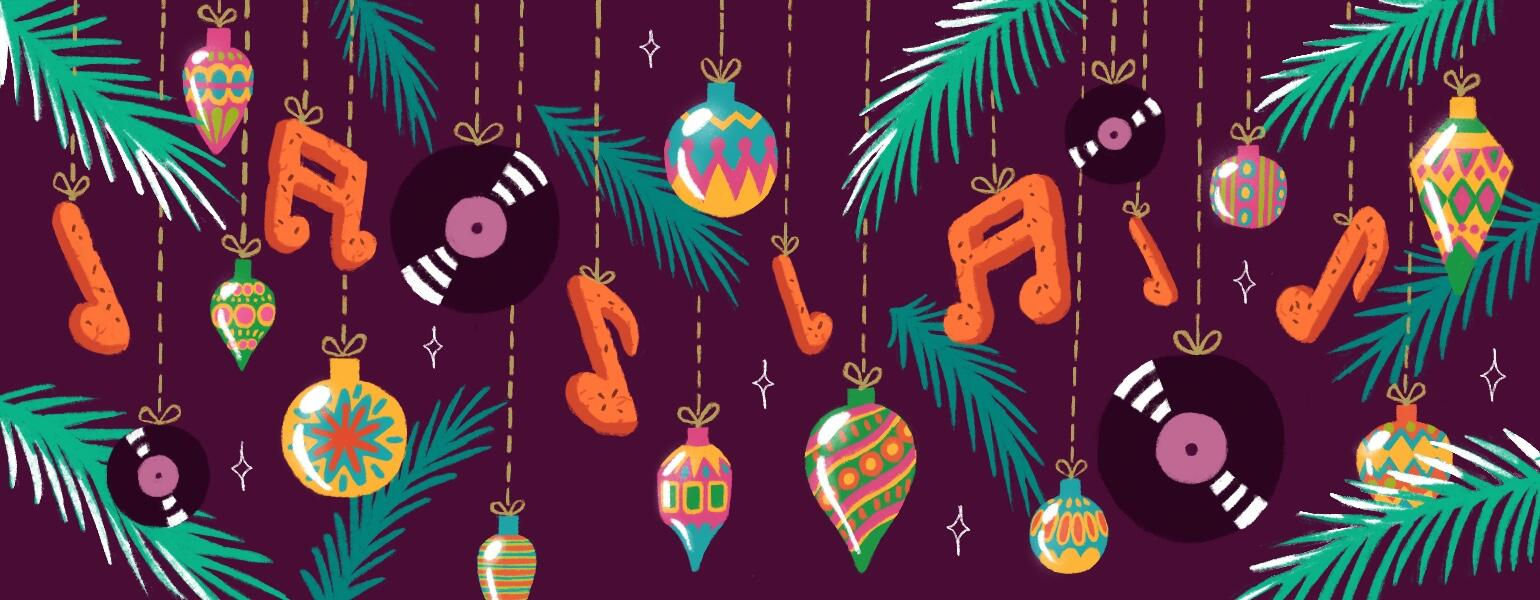 illustration of christmas ornaments and music notes spotify playlist by charlot kristensen