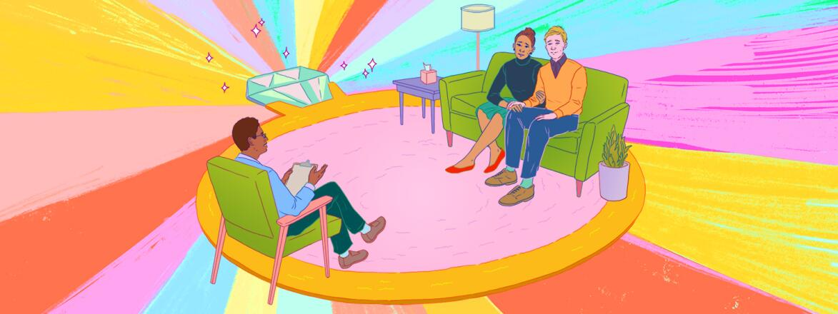 aarp, girlfriend, marriage therapy, illustration