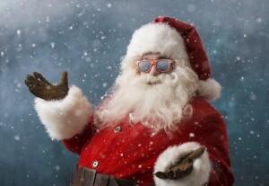 Santa Claus wearing sunglasses