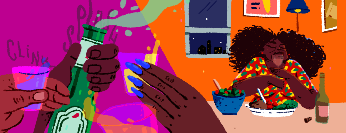 Illustration of party next to woman sitting at home enjoying time alone