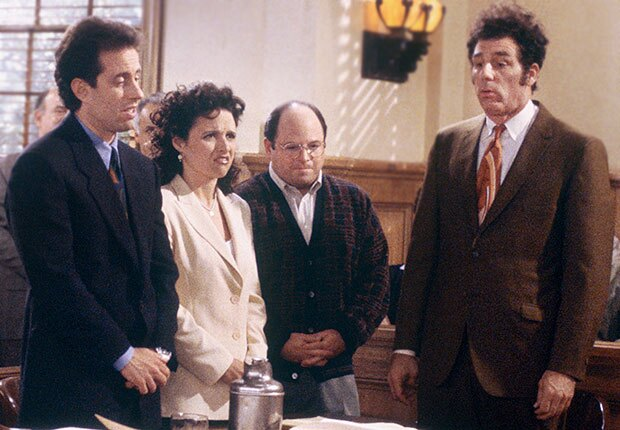 Jerry Seinfeld and cast in the finale of 'Seinfeld'