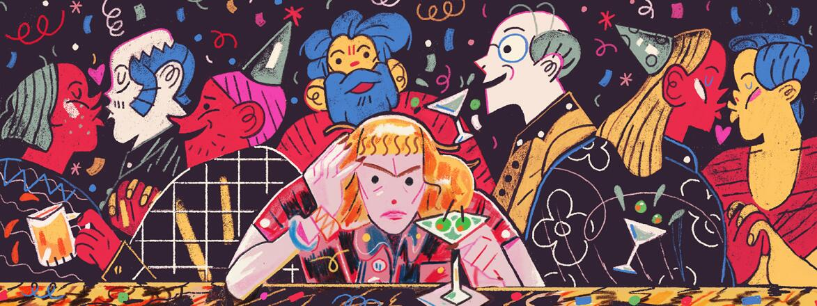 illustration of a woman at a bar one new years eve by herself with couples surrounding her