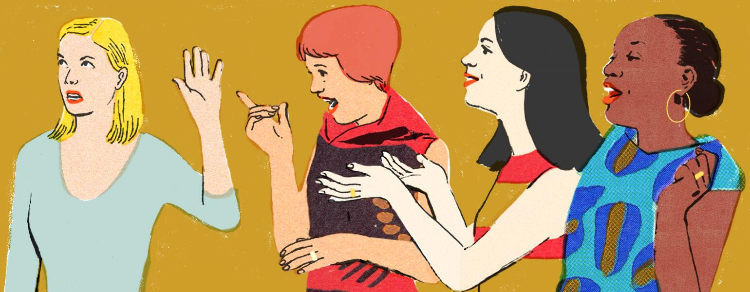 Illustration of woman being annoyed by her married friends
