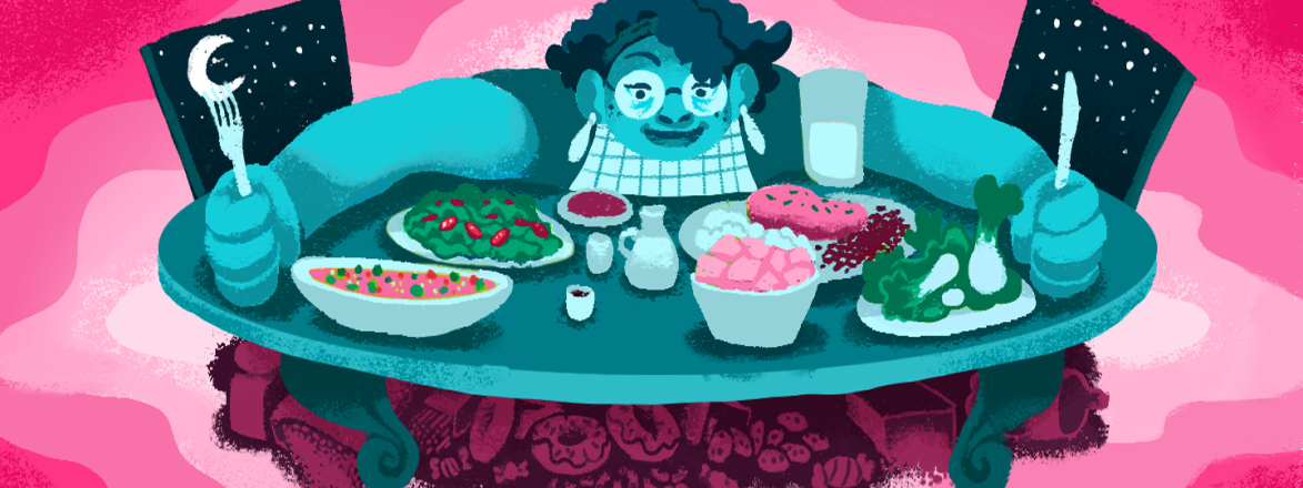 illustration_of_woman_sitting_at_table_with_lots_of_plates_of_food_by_emily_alvarez_1440x560