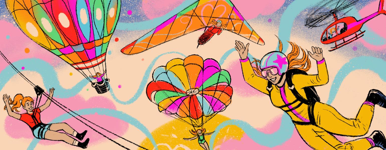 illustration of girl doing different adventures