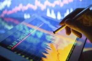 Analyzing stocks on tablet