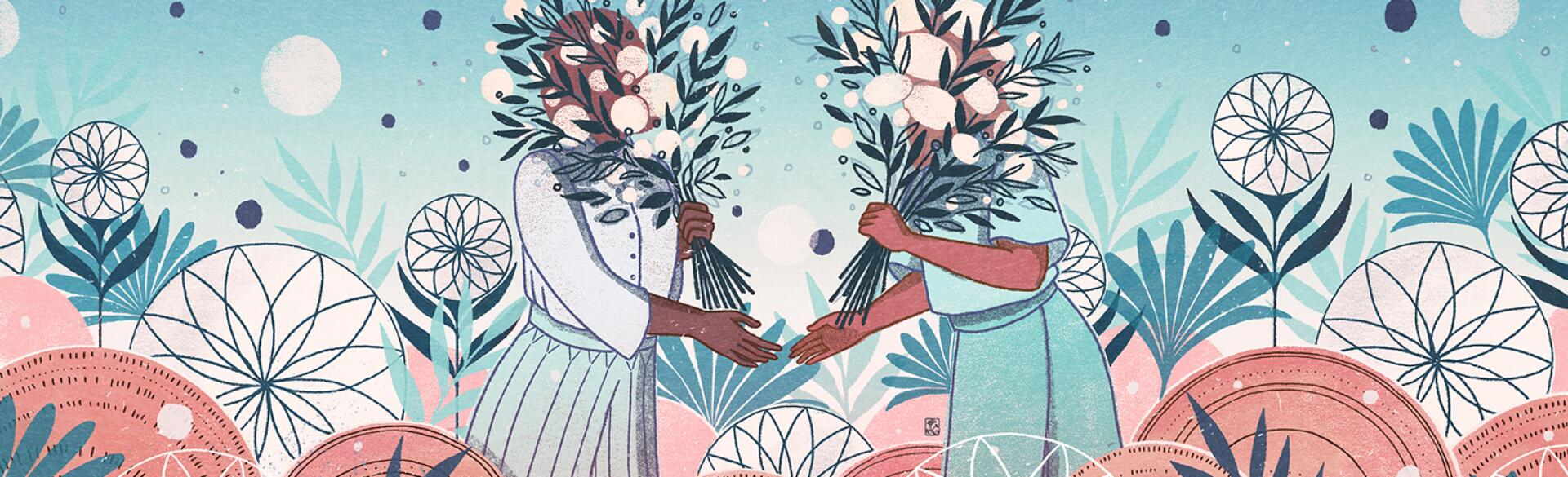 A graphic of two women about to shake hands as they meet with their faces covered by flowers.