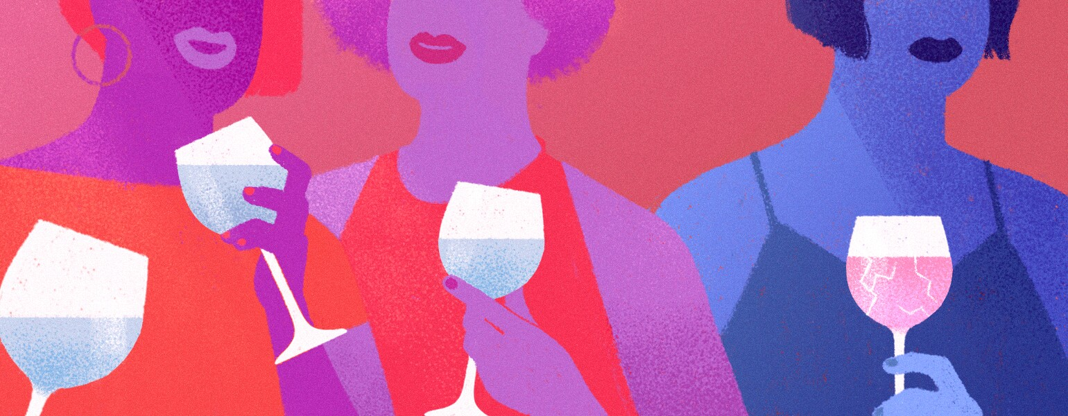 drinking, wine, illustration, Girlfriend, aarp