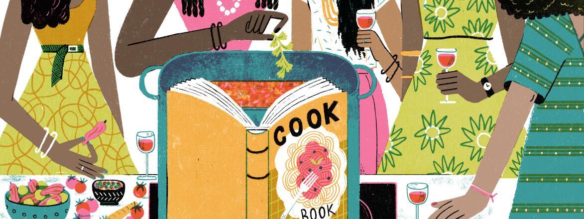 illustration of women drinking wine around a cook book