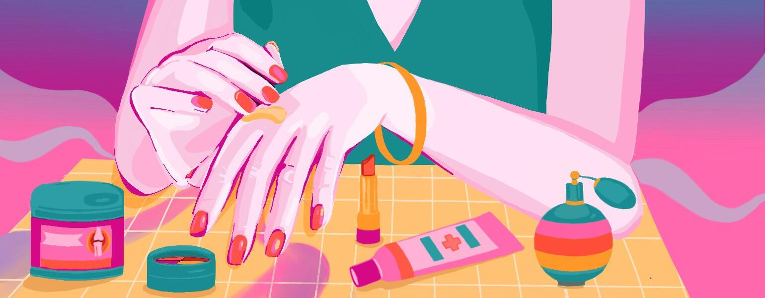 Illustration of a woman putting cream on her knuckles where arthritis pain can occur.