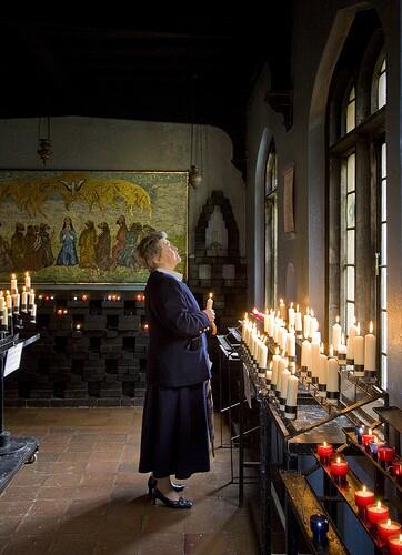 woman at Catholic shrine