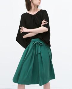 Zara Tie Belt Midi Skirt